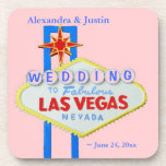 Las Vegas Wedding Pink Personalized Welcome Sign Drink Coasters