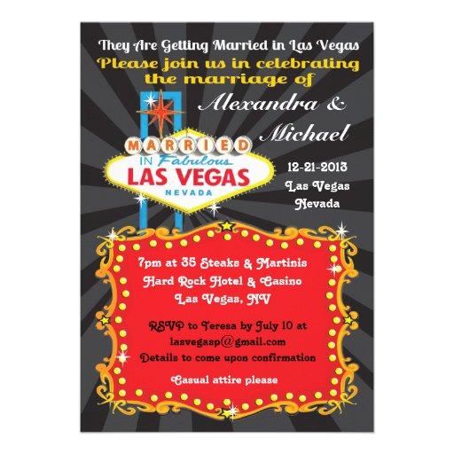 Las Vegas Wedding Reception Invitations