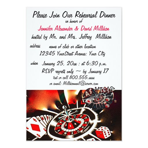 "Las Vegas Wedding Rehearsal Dinners 5"" X 7"" Invitation Card"