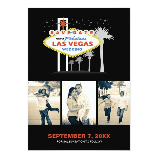 Las Vegas Wedding Save The Date 5x7 Paper Invitation Card