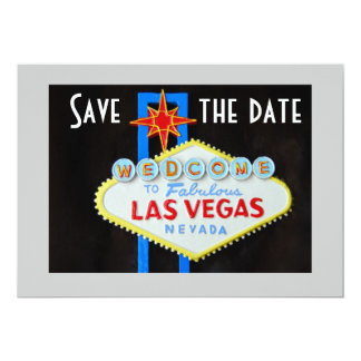 Las Vegas Wedding Save the Date 5x7 Paper Invitation Card