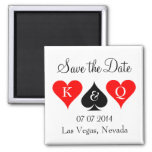 Las vegas wedding save the date magnet with hearts