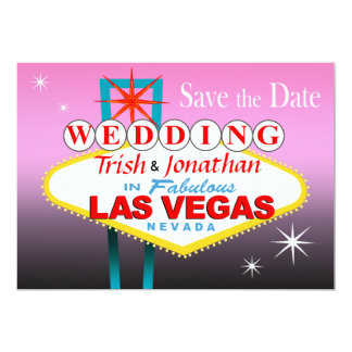 Las Vegas Wedding Save the Date - pink Card