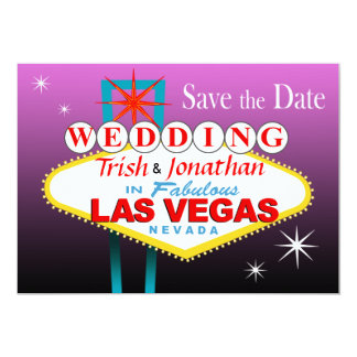 Las Vegas Wedding Save the Date - purple Card
