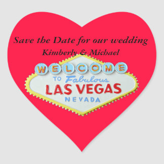 Las Vegas Wedding Save the Date Red Heart Heart Sticker
