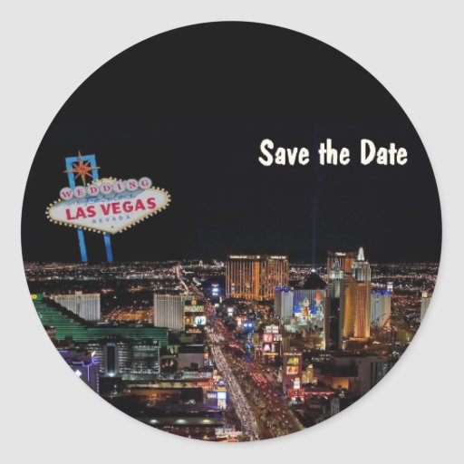 Las vegas wedding save the date sticker zazzle for Arts and crafts stores in las vegas