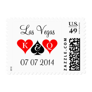 Las Vegas wedding stamps with playing card suits