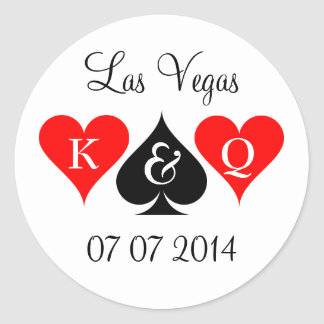 Las Vegas wedding stickers with monogram and date