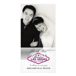 Las Vegas Wedding Thank You Photo Card (Pink)
