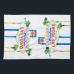 """Las Vegas Welcome Sign Hand Towel<br><div class=""""desc"""">A fun Las Vegas kitchen towel.  The famous neon welcome sign from The Strip in Nevada.  A cute gift for anyone.</div>"""