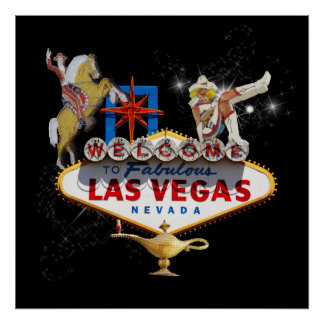 Las Vegas Welcome Sign On Starry Background