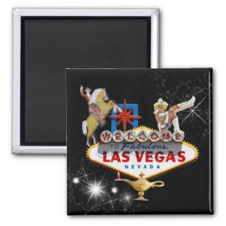 Las Vegas Welcome Sign On Starry Background 2 Inch Square Magnet