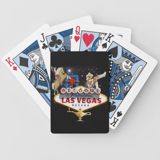 Las Vegas Welcome Sign On Starry Background Bicycle Playing Cards