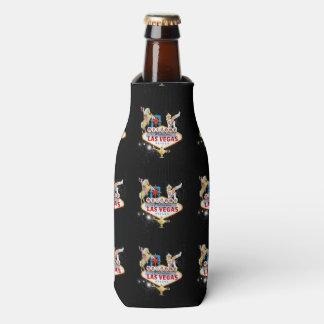 Las Vegas Welcome Sign On Starry Background Bottle Cooler