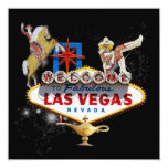 Las Vegas Welcome Sign On Starry Background 5.25x5.25 Square Paper Invitation Card
