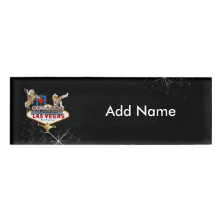 Las Vegas Welcome Sign On Starry Background Name Tag