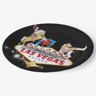 Las Vegas Welcome Sign On Starry Background Paper Plate
