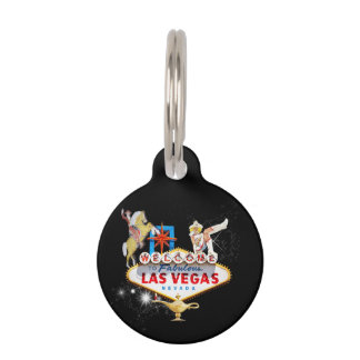 Las Vegas Welcome Sign On Starry Background Pet Tag