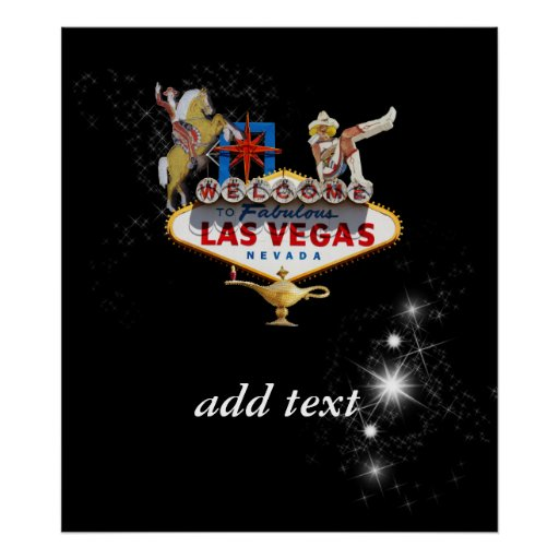 Las Vegas Welcome Sign On Starry Background Poster