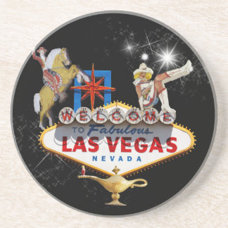Las Vegas Welcome Sign On Starry Background Sandstone Coaster