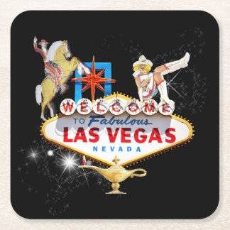 Las Vegas Welcome Sign On Starry Background Square Paper Coaster