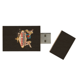Las Vegas Welcome Sign On Starry Background Wood USB Flash Drive