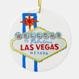 Las Vegas Welcome Sign Double-Sided Ceramic Round Christmas Ornament