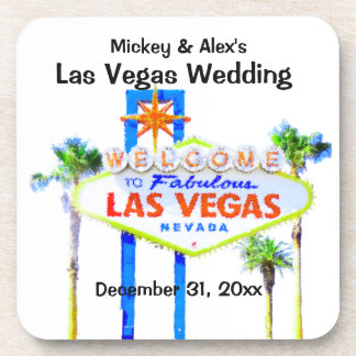 Las Vegas Welcome Sign Palm Trees Coaster