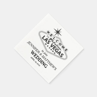 Las Vegas Welcome Sign Personalized Wedding Standard Cocktail Napkin