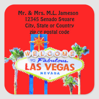 las Vegas Welcome Sign Red Address Label Square Sticker