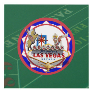 Las Vegas Welcome Sign Red & Blue Poker Chip