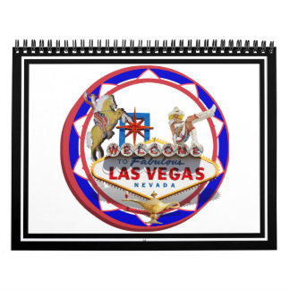 Las Vegas Welcome Sign Red Blue Poker Chip Wall Calendar