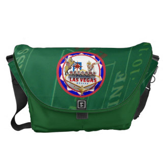 Las Vegas Welcome Sign Red & Blue Poker Chip Courier Bag