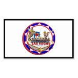 Las Vegas Welcome Sign Red & Blue Poker Chip Double-Sided Standard Business Cards (Pack Of 100)