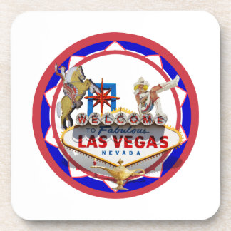 Las Vegas Welcome Sign Red & Blue Poker Chip Drink Coaster