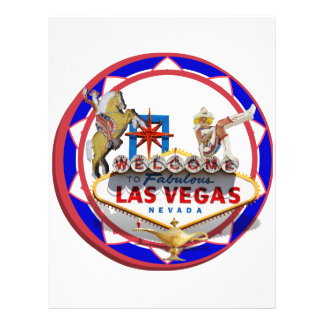 Las Vegas Welcome Sign Red & Blue Poker Chip Flyers
