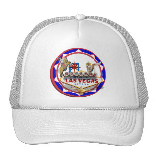 Las Vegas Welcome Sign Red Blue Poker Chip Mesh Hats