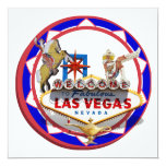 """Las Vegas Welcome Sign Red & Blue Poker Chip 5.25"""" Square Invitation Card"""