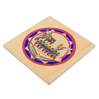 Las Vegas Welcome Sign Red & Blue Poker Chip Wood Coaster