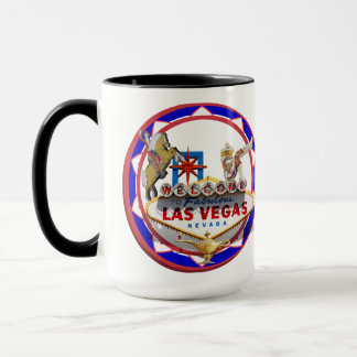 Las Vegas Welcome Sign Red & Blue Poker Chip Mug