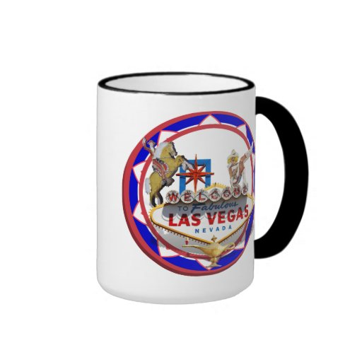 Las Vegas Welcome Sign Red & Blue Poker Chip Mugs