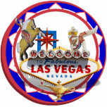 Las Vegas Welcome Sign Red & Blue Poker Chip Photo Cutouts