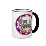 Las Vegas Welcome Sign Red & Blue Poker Chip Ringer Coffee Mug