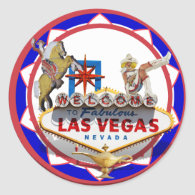 Las Vegas Welcome Sign Red & Blue Poker Chip Sticker