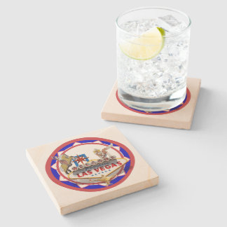 Las Vegas Welcome Sign Red & Blue Poker Chip Stone Coaster