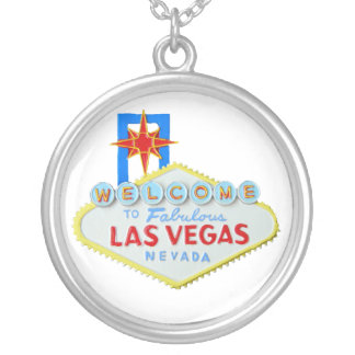 Las Vegas Welcome Sign Round Pendant Necklace