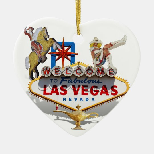 Las Vegas Welcome Sign With Icons Ceramic Ornament