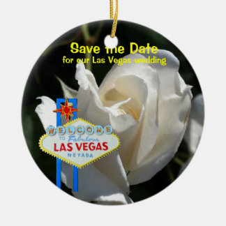 Las Vegas White Rose Wedding Announcement Ornaments