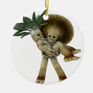 Las verduras adorables - lléveme a casa adorno navideño redondo de cerámica