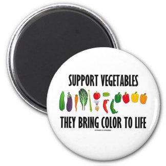 Las verduras de la ayuda traen color a la vida imán redondo 5 cm